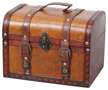 Old Style Suitcase With Stripes, Small rustic-decorative-trunks