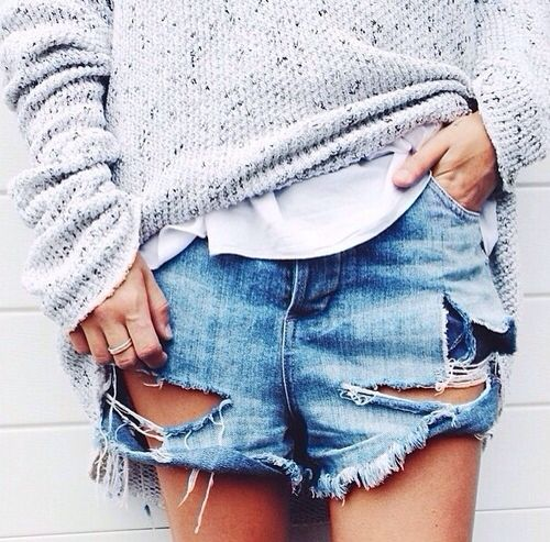 shredded denim: