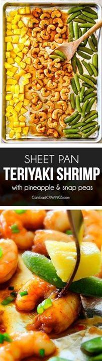 I am in love with th I am in love with this Sheet Pan Teriyaki...  I am in love with th I am in love with this Sheet Pan Teriyaki Shrimp Pineapple and Snap Peas! Its SO easy healthy a meal-in-one and the homemade Teriyaki sauce is the best Ive ever had (DONT be tempted to use store bought!)! Im always keeping frozen shrimp on hand so I can make this any time! Recipe : http://ift.tt/1hGiZgA And @ItsNutella  http://ift.tt/2v8iUYW