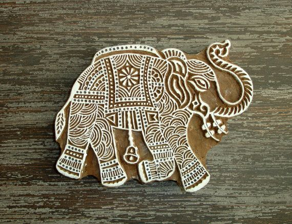 Large Elephant Stamp, Hand Carved Wood Stamp, Handmade Indian Elephant Wooden Printing Block, Ceramics Textile Pottery Stamp, From India, by DelhiDaze, $40.00