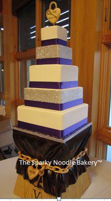 Apple Spice Wedding Cake: Diamond and deep purple satin ribbon