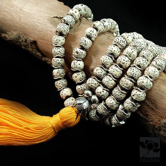 108 Natural white lotus Bodhi Seeds Dzi Agate Bead by PadmaZenArt