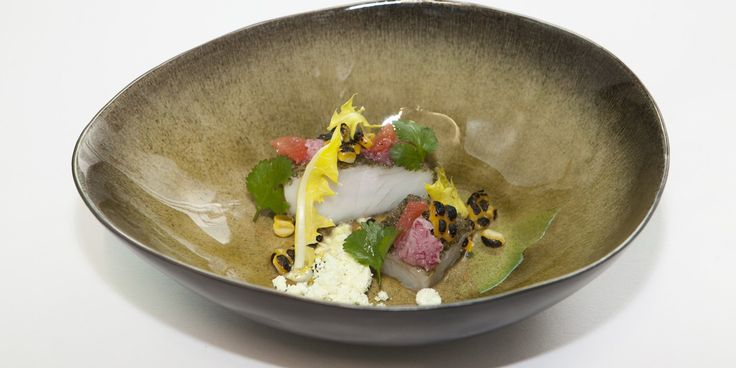 Pollock is rolled in powdered kombu seaweed and paired with sweetcorn, dandelion and curry in this fabulous fish dish from Adam Stokes