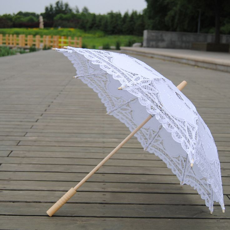 ==> [Free Shipping] Buy Best White Vintage Lace Umbrella Bridal Parasol Umbrella with Long-handle Wedding Favors Bridal Wedding Photo Props Shower Decoration Online with LOWEST Price | 32809443691