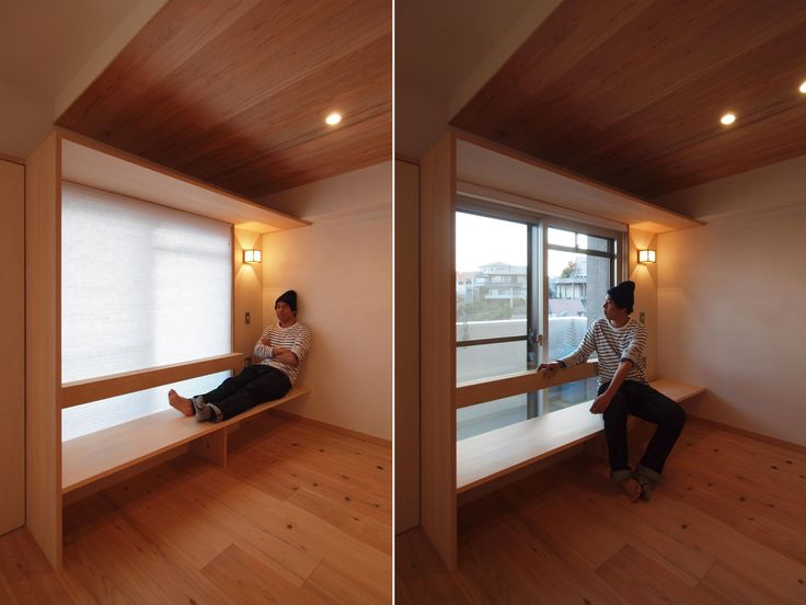 建築家 池田 郁夫 窓際造作ベンチと多様性のある小リビングを持つ住まい 出窓ベンチ 窓際 リビング