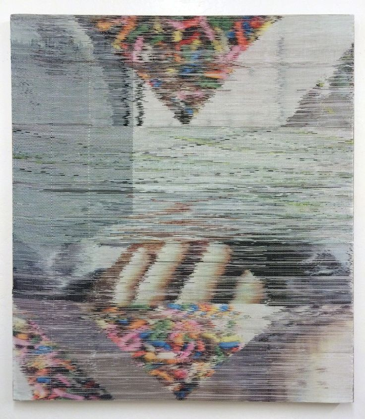 Margo Wolowiec, 'One Half of the Double Negative', 2014, 52x46 in, handwoven polyester, cotton, linen, dye-sublimation ink, fabric dye