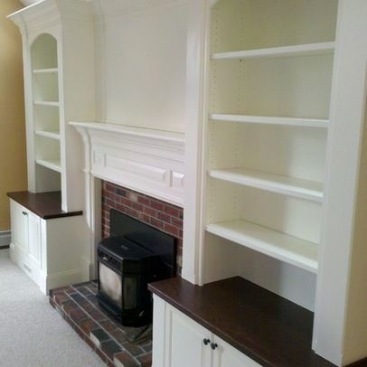 Bookcases Around Fireplace Family Room