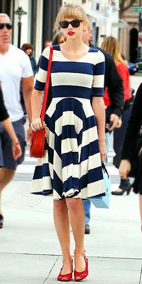 taylor swift modest half sleeve blue and white striped nautical knee length dress