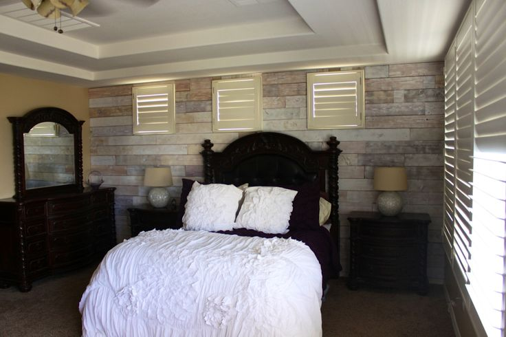 Wood Slat Feature Wall I Finished In Our Master Bedroom T M H Timeless Custom Homes