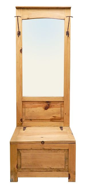 Rustic Hall Tree with Mirror & Trunk