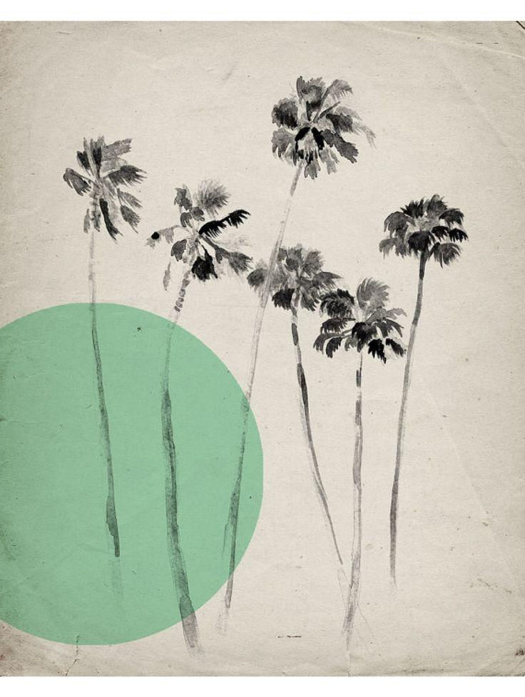 California Palm Trees Print, Green