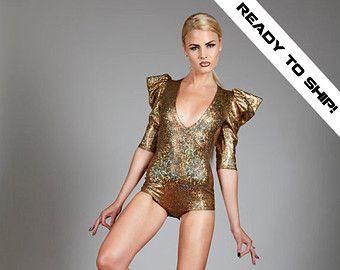 Geometric Swimsuit Dance Bodysuit Futuristic Fashion Black