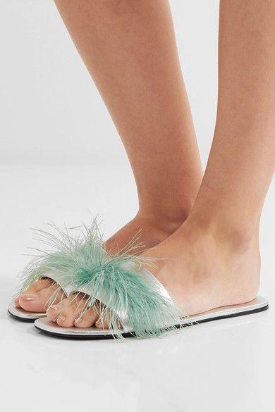Prada - Feather-embellished Metallic Textured-leather Slides - Silver - IT38.5