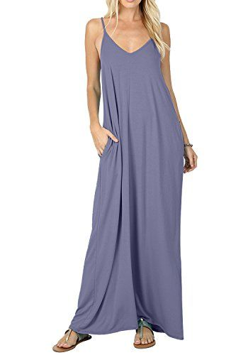 2badf84675d09 CALIPESSA-Womens-Summer-Casual-Plain-Flowy-Pockets-Loose-Beach-Cami-Maxi- Dress