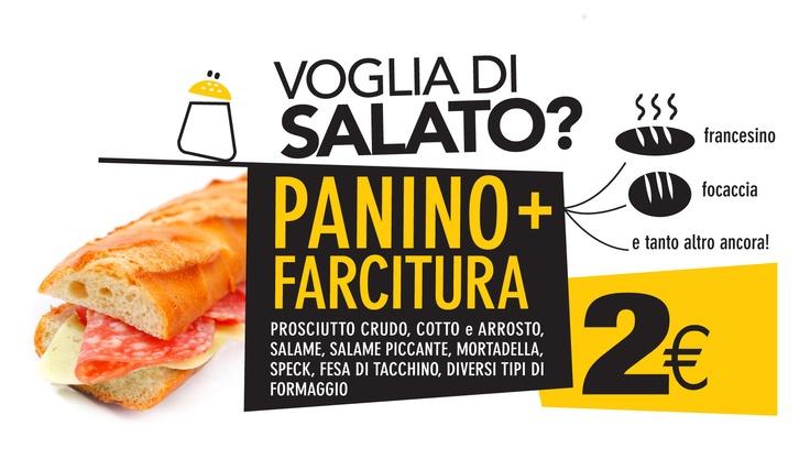 A SOLO 2 EURO gustati un panino o una focaccia, semplici o ai cereali, naturalmente farciti come preferisci. Scegli tra mortadella, fesa di tacchino, prosciutto arrosto, cotto o crudo, salame, salame piccante o speck. A cui puoi aggiungere mozzarella, senape e maionese a piacere! Passa da #zes.