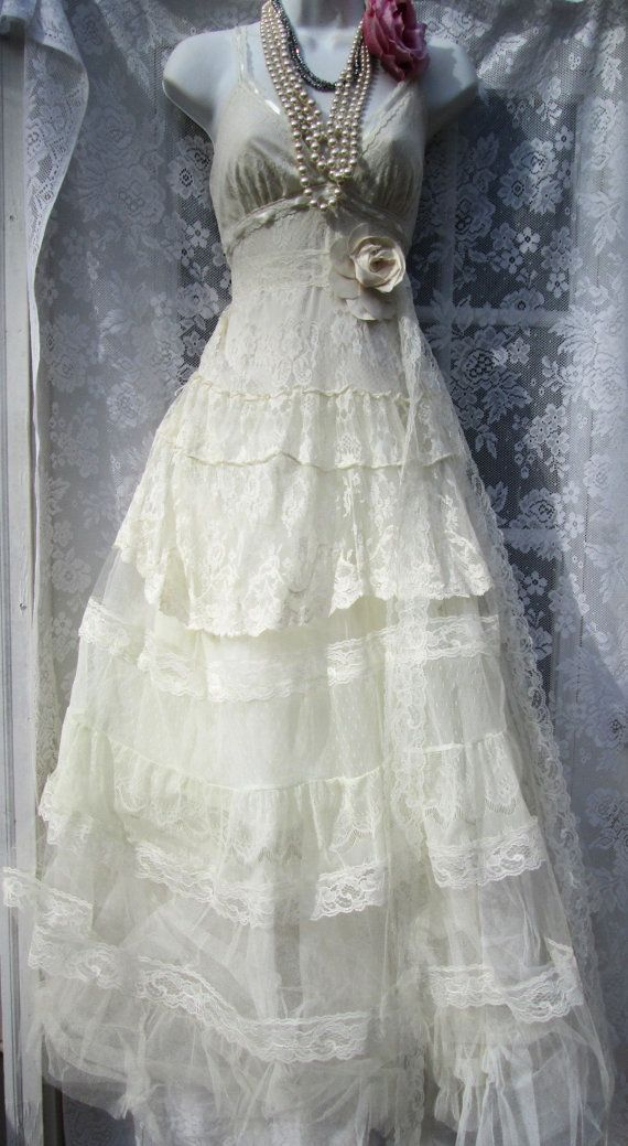 Ivory Boho Wedding Dress Tiered Lace Vintage Tulle Bride