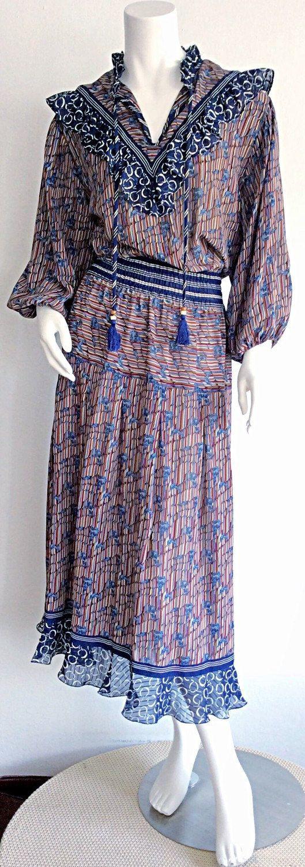 1970s Vintage Diane Fres Dress / Navy Vintage Boho by brentedwardvintage