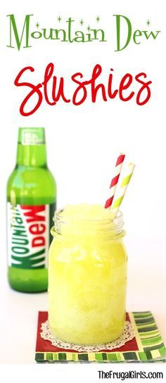 Mountain Dew Slushie Recipe! ~ at TheFrugalGirls.com ~ nothing beats ice cold Mt. Dew Slushies on a hot day! The perfect refreshing drink for kids and adults!