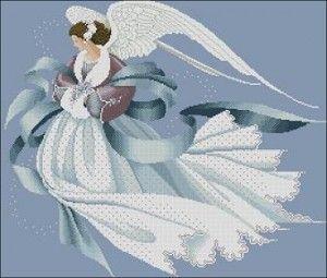 "Free cross-stitch pattern ""Angel of Winter"" | Cross-Stitch Club"