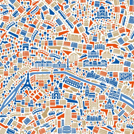 Stadtplan-Poster Paris by Vianina. €39.90, via Etsy.