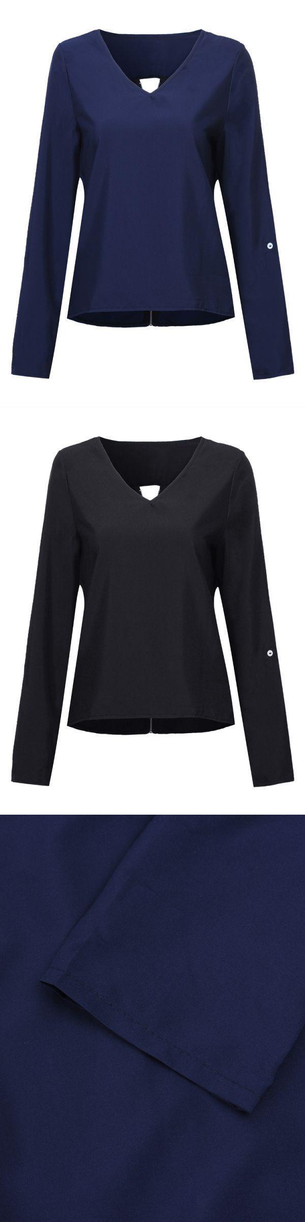 Casual women back zipper long sleeve v-neck t-shirts women#8217;s t shirts 3 4 sleeve #half #sleeve #t #shirts #womens #ku #womens #t #shirts #polo #t #shirts #womens #online #t #shirt #model #woman