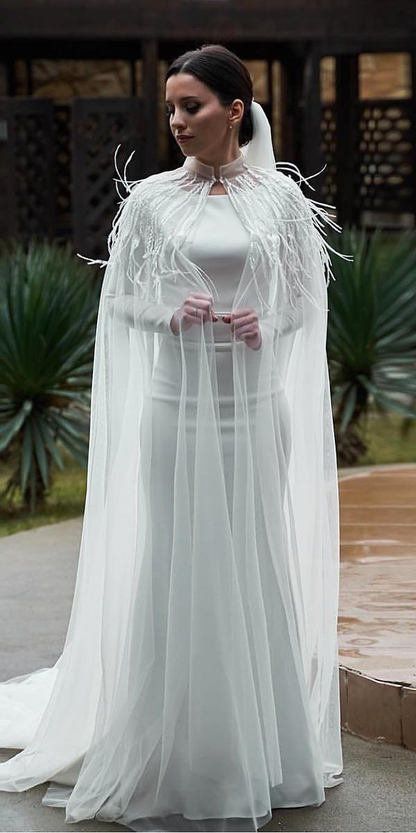ccec1c55f7f4 24 Gorgeous Spring Wedding Dresses ❤ spring wedding dresses simple sheath  with long sleeves cape feather ilyasgaydarov  weddingforward  wedding  bride
