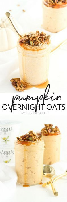 Creamy, high protein, lower sugar Pumpkin Overnight Oats with warm fall spices are are the perfect make-ahead breakfast for fall mornings. Enjoy hot or cold for a delicious seasonal treat! (#glutenfree, #vegetarian) #partner #dailysiggis #pumpkinspice | via livelytable.com
