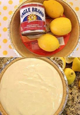 3 ingredients, so easy, so cheap to make......but, it tastes like a million dollars!! Can use strawberries and blueberries too!!  NO BAKE LEMON PIE!!  Ingredients:...... 1 Pie Crust 2 cups sweetened condensed milk 3/4 cup lemon juice  Directions: Pour two cups of sweetened condensed milk into a mixing bowl Add Lemon Juice and Stir Pour into the Pie Crust and refrigerate for a couple hours Whipped cream for garnish Courtesy…
