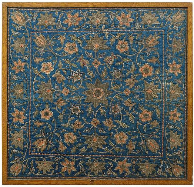 Ottoman silk Bohca with metal thread embroidery, 17th century.