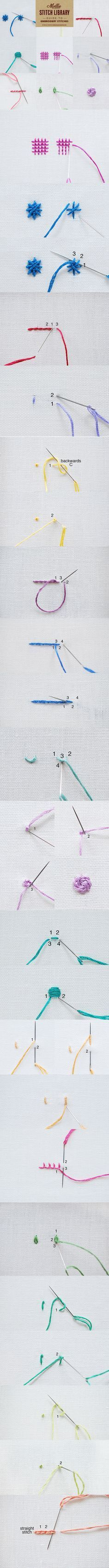 Learn 17 embroidery stitches with our handy guide. Bookmark or Pin this page for future reference or you can download and print it.