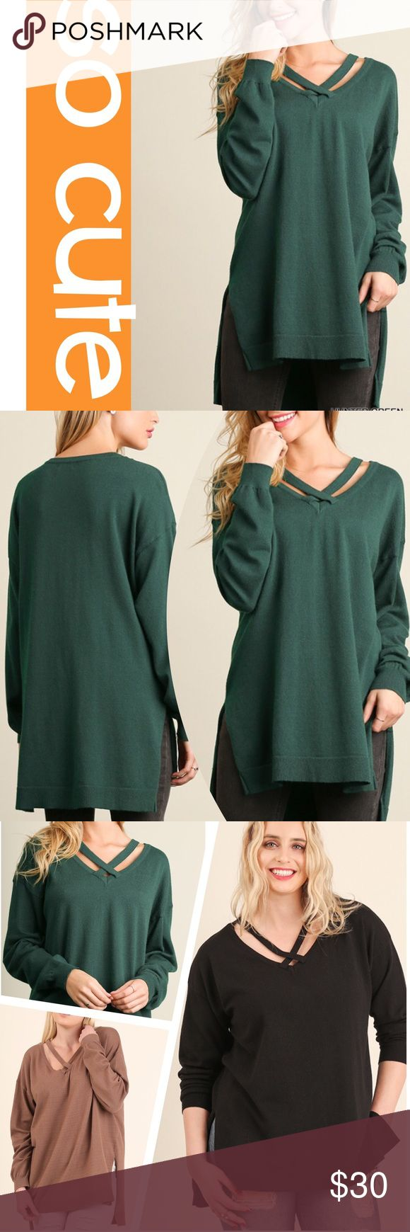 CROSS TOP LIGHTWEIGHT SWEATER Trendy, cross top with a cute high low hem. Very flattering. Rayon/polyester/spandex. Measurements upon request. MOCHA & BLACK ALSO AVAILABLE IN A SEPARATE LISTING. tla2 Sweaters Crew & Scoop Necks