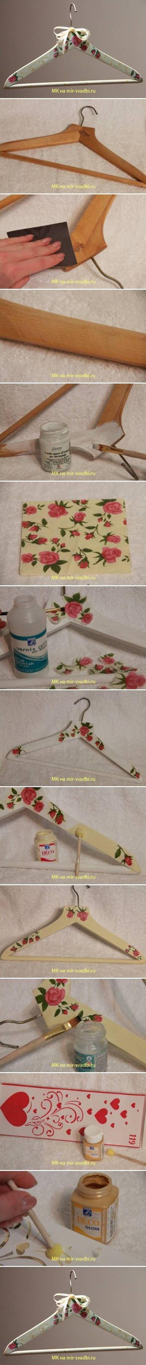Percha con decoupage   -   DIY Hanger Decoupage