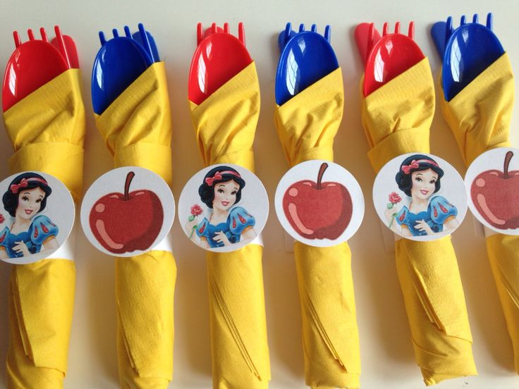 Snow White Birthday Party Cutlery, wrapped utensils, party supplies, princess party decoration by AlishaKayDesigns on Etsy