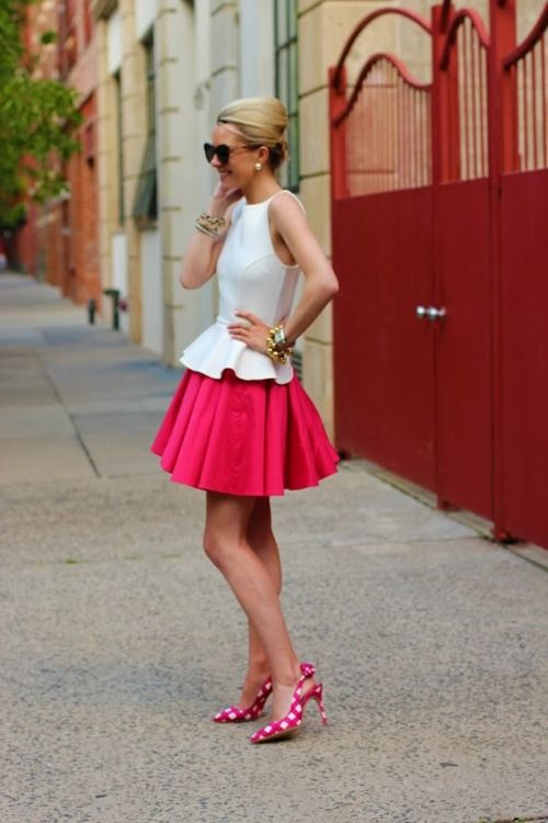 Pink, white, and gold + an Audrey Hepburn silhouette = one fabulous outfit. Don't be afraid to play around with fun colors and accessories. :-)