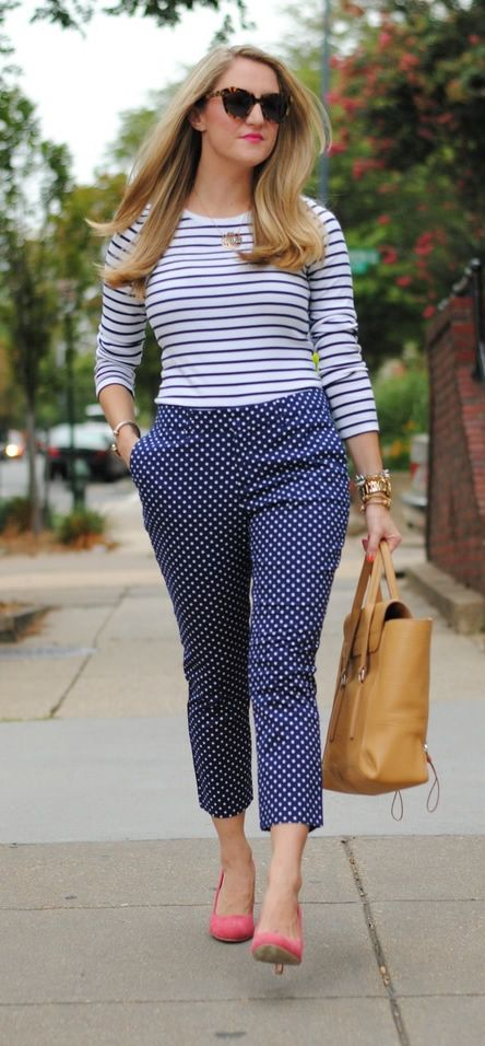Blue+white, striped T with jewel neck and 3/4 sleeves. My all time fave. Polka dot pants. 2 cute ♥