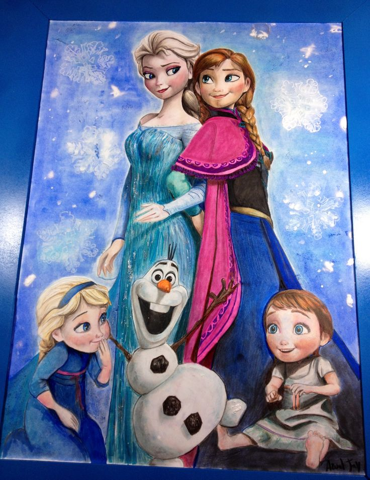 Disney Frozen - Elsa and Anna. Coloured pencils and panpastels on paper, 70x90 cm. Arual Jay. #Disney #Frozen #Elsa #Anna #ElsaandAnna #BabyElsa #BabyAnna #Olaf