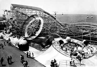 P.O.P.  Pacific Ocean Park in Santa Monica.  Thrill rides, carnival food, fun house, all before Magic Mountain.