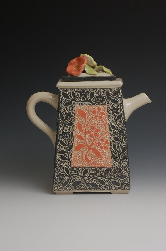 Beautiful Teapot in a Tapestry Design of Coral by embroideredstone