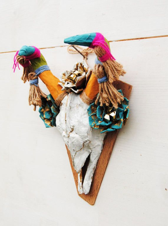 Vegan animal skull & flowers sculpture Boho decor Faux