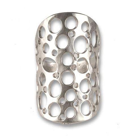 Handmade Silver Plated Bronze Long Ring
