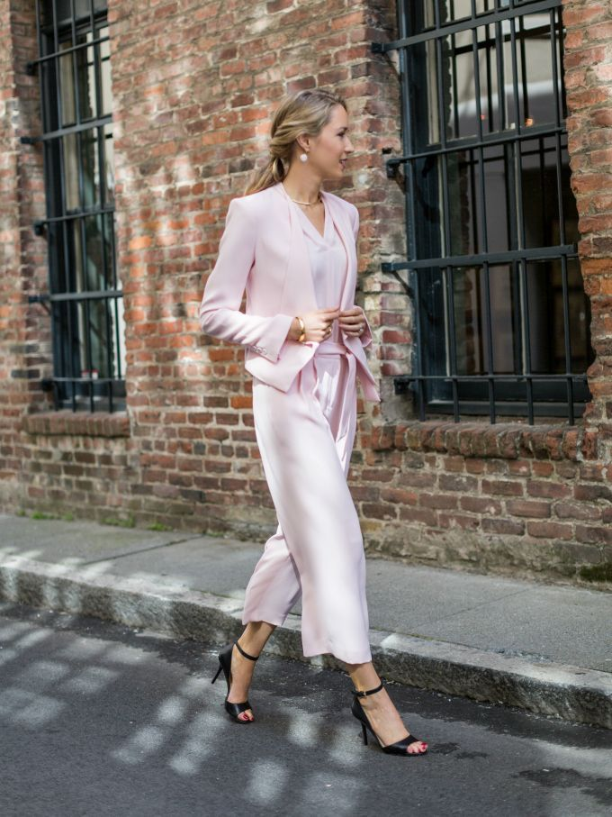 Ankle Strap Sandals + Blush Pastel Pink Culotte SuitMEMORANDUM, formerly The Classy Cubicle: