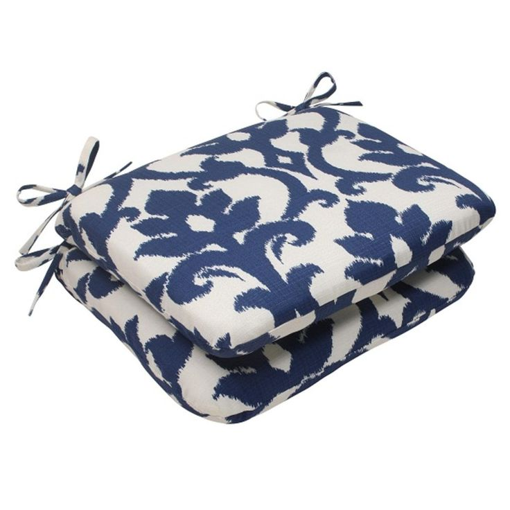 Set of 2 Victorian Floral Print Outdoor Patio Rounded Seat Cushions 18.5, Blue, Outdoor Cushion