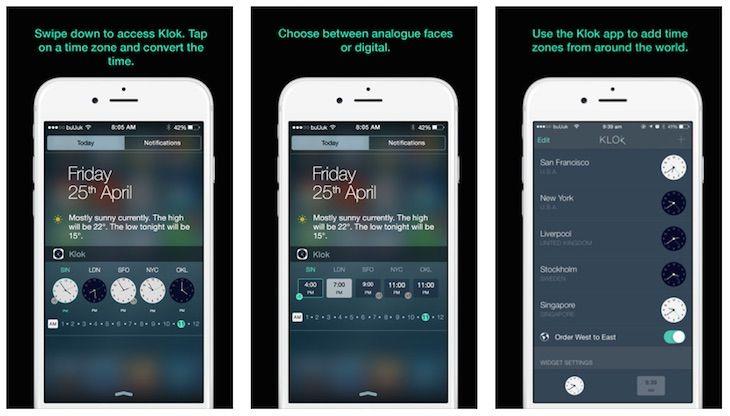 Sabías que Klok, un widget para dispositivos iOS con el que convertir zonas horarias