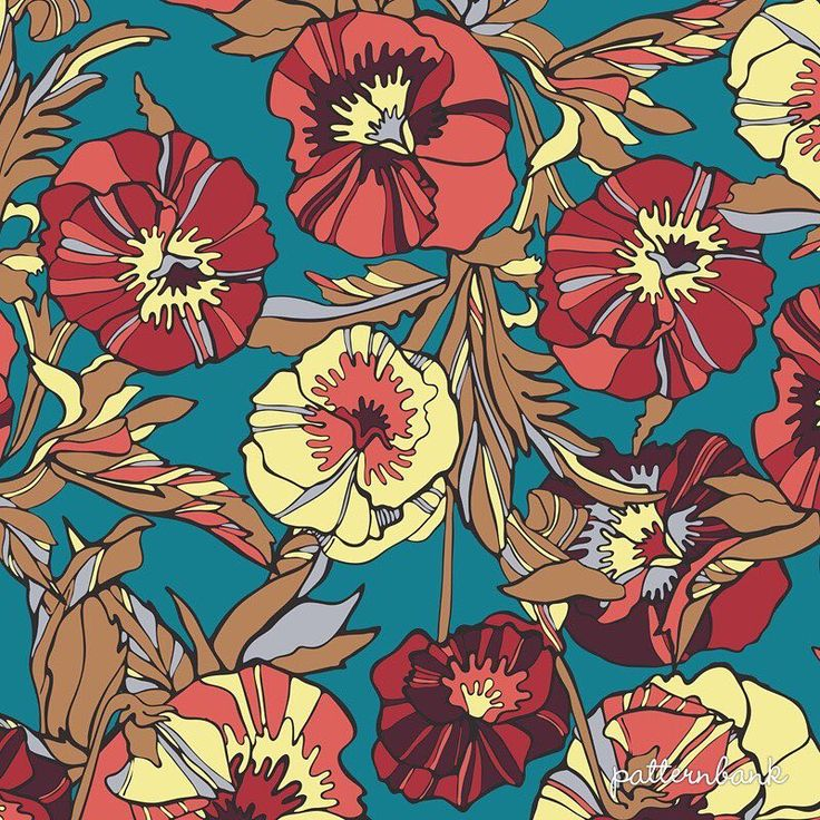 Check out my new design on Patternbank.com!!! • Modern vector seamless, flat floral design