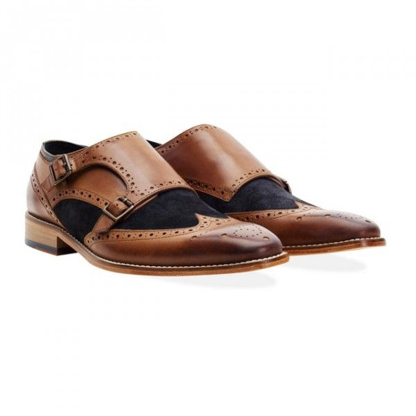 Buy Goodwin Smith Rishton Tan and Navy Monk Strap shoes - FREE UK Delivery.  Classic double monk strap shoes in contrasting tan and navy.