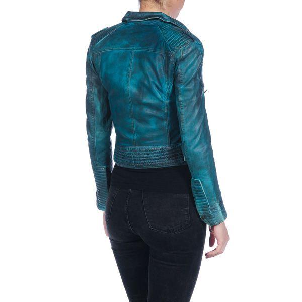 Cazadora de piel efecto desteñido con cinturón - turquesa oscuro ISACO & KAWA 872AYV