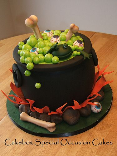 Halloween witch's cauldron cake. With the frog and eyes of newt!: