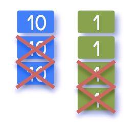 Pour travailler la soustraction, le matériel des timbresde Montessori est très approprié, car il permet de travailler en colonne, comme dans la disposition usuelle. Mais surtout il permet retirer …