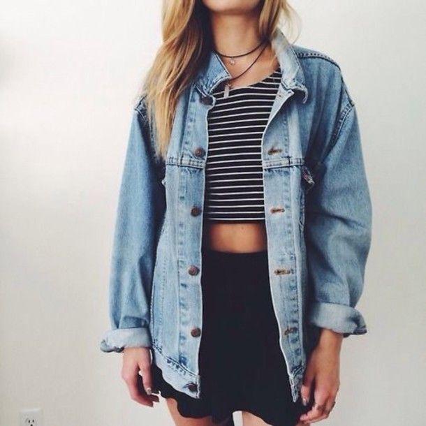 jacket blonde hair denim jacket striped top shorts shirt crop tops jean jackets skaterskirt choker necklace choker necklace
