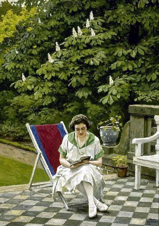 Paul Gustave Fischer (Danish painter) 1860 - 1934, Reading on the Terrace, s.d., oil on canvas, 53.3 x 38.1 cm. (21 x 15 in.), signed, private collection